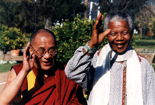 His Holiness The Dalai Lama with Nelson Mandela