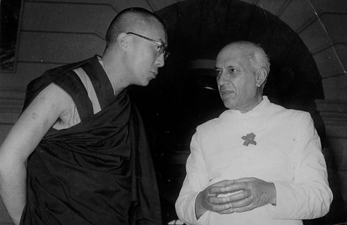 His Holiness The Dalai Lama with Pt. Jawahar Lal Nehru, Prime Minister of India