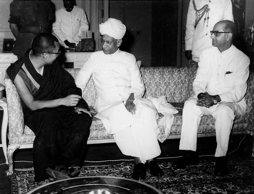 His Holiness The Dalai Lama with President Radhakrishnan of India