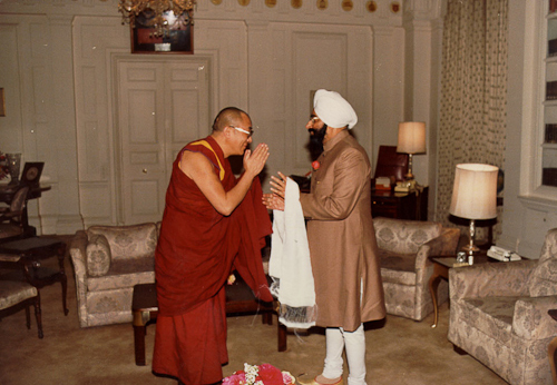 His Holiness The Dalai Lama with with President G Singh of India