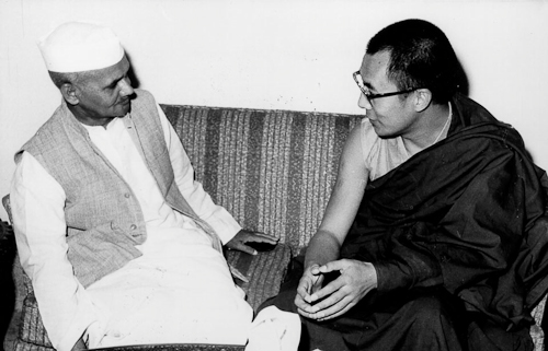 His Holiness The Dalai Lama with Prime Minister LB Shastri of India
