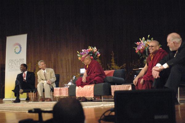 MIT Chancellor Phillip Clay, Thuptan Jinpa, HH The Dalai Lama, Ven. Tenzin Priyadarshi, Robert Randolph