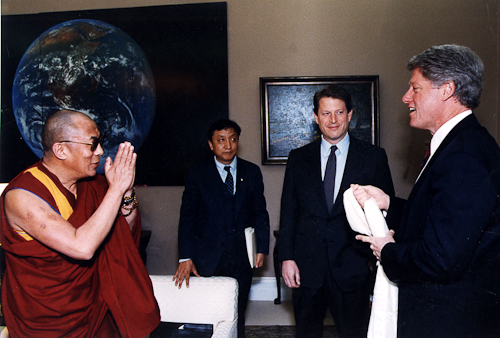 His Holiness The Dalai Lama with President Bill Clinton and Vice President Al Gore