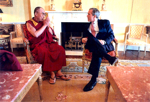 His Holiness The Dalai Lama with President George W. Bush
