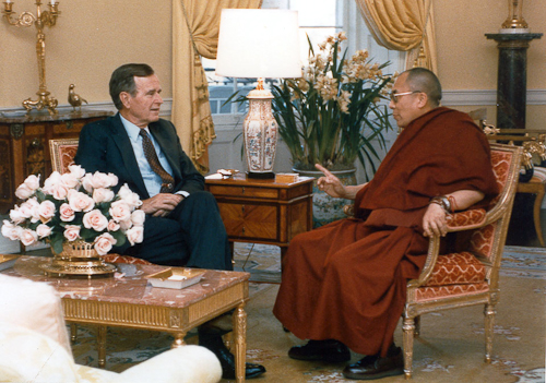 His Holiness The Dalai Lama with President George H. W. Bush