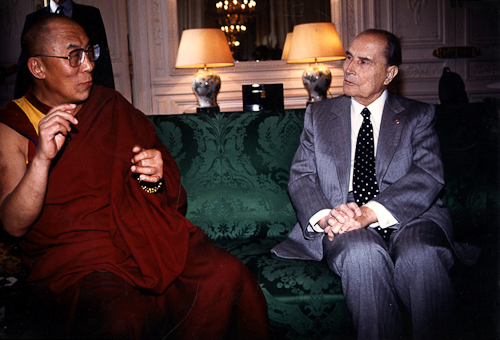 His Holiness The Dalai Lama with French President François Mitterrand