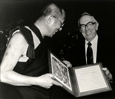 His Holiness The Dalai Lama receiving the Nobel Peace Price