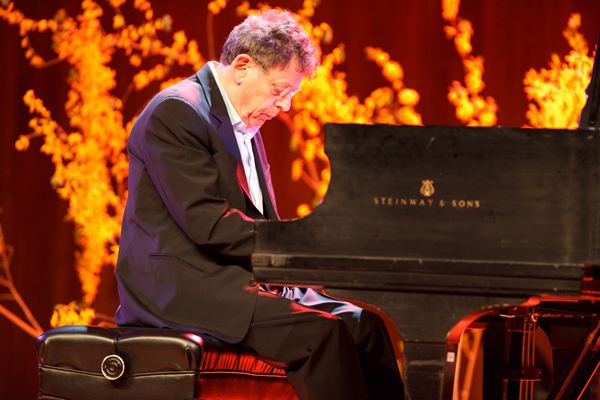 Composer Philip Glass performing Ahimsa