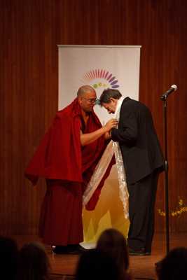 Composer Philip Glass and Ven. Tenzin Priyadarshi