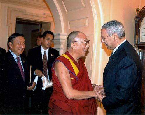His Holiness The Dalai Lama with U.S. Secretary of State Collin Powell