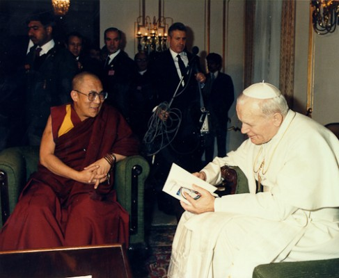 His Holiness The Dalai Lama with Pope John Paul II