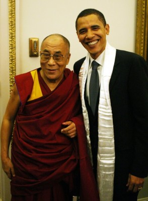 His Holiness The Dalai Lama with President Barack Obama