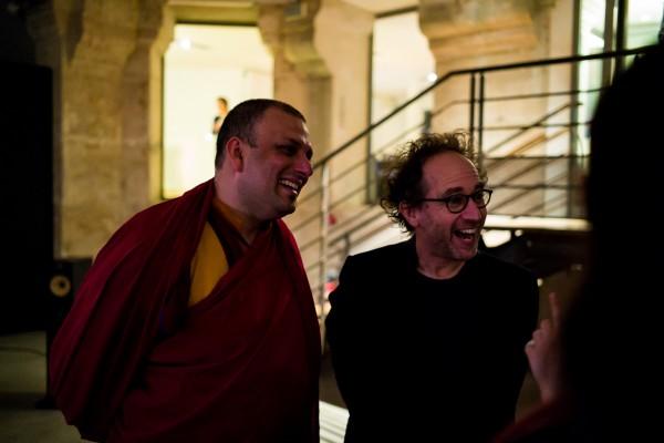 Venerable Tenzin Priyadarshi with Tod Machover
