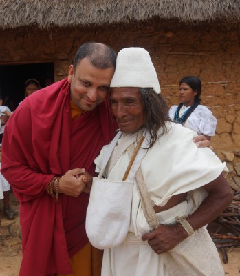 Spiritual Leader of Arhuaco (Mamo) with Venerable Tenzin Priyadarshi