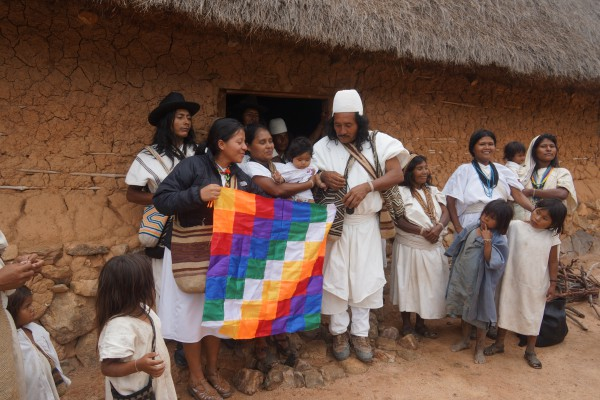 Members of Arhuaco community during a meeting to discuss impact of conflict and climate change on the indigenous communities in Sierra Nivada de Santa Marta region in Colombia.